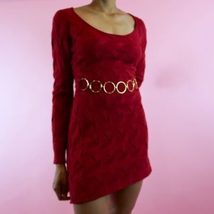 Milly Of New York Red Long Sleeve Mini Dress